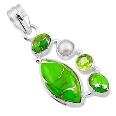 13.48cts green copper turquoise peridot 925 sterling silver pendant r44675