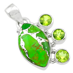 13.70cts green copper turquoise peridot 925 sterling silver pendant t30415