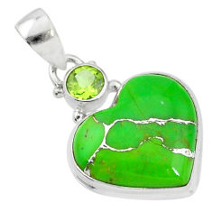 12.22cts green copper turquoise peridot 925 sterling silver pendant t4130