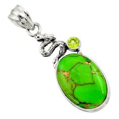 14.14cts green copper turquoise peridot 925 sterling silver snake pendant d44949