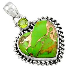15.97cts green copper turquoise peridot heart sterling silver pendant r43927
