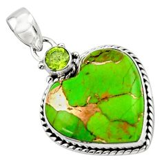 16.05cts green copper turquoise peridot heart sterling silver pendant r43928