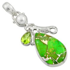 Clearance Sale- 16.06cts green copper turquoise peridot pearl 925 silver seahorse pendant d41701