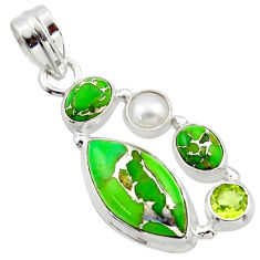15.08cts green copper turquoise peridot pearl 925 sterling silver pendant r40138
