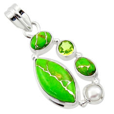 14.72cts green copper turquoise peridot pearl 925 sterling silver pendant r40139