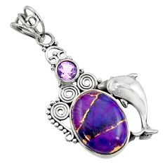 9.70cts green copper turquoise purple amethyst 925 silver dolphin pendant d44953