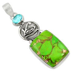 Clearance Sale- 19.00cts green copper turquoise topaz 925 sterling silver pendant jewelry d41697