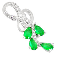 1.55cts green emerald (lab) topaz 925 sterling silver pendant jewelry c23492