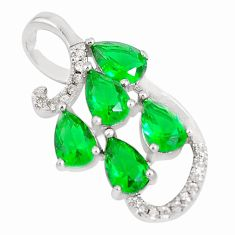 4.07cts green emerald (lab) topaz 925 sterling silver pendant jewelry c23494