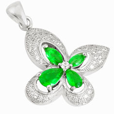 3.32cts green emerald (lab) topaz 925 sterling silver pendant jewelry c23503