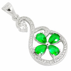 6.03cts green emerald (lab) topaz 925 sterling silver pendant jewelry c23510