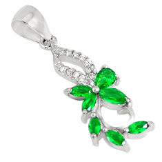 2.12cts green emerald (lab) topaz 925 sterling silver pendant jewelry c26128
