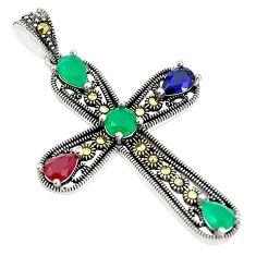 Green emerald quartz marcasite 925 silver holy cross pendant c17172