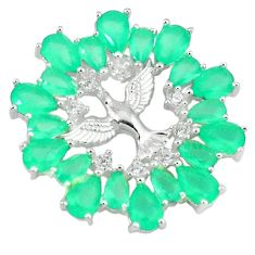 Green emerald quartz topaz 925 sterling silver birds pendant jewelry c22882