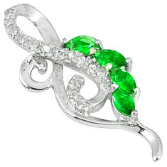 Green emerald quartz white topaz 925 sterling silver pendant jewelry c22810