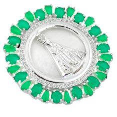 Green emerald quartz white topaz 925 sterling silver pendant jewelry c22830