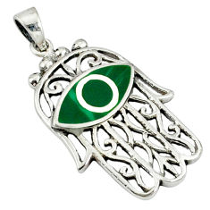 Green malachite (pilot's stone) 925 silver hand of god hamsa pendant c12513