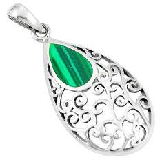 2.48gms green malachite (pilot's stone) enamel 925 silver pendant a93270 c13820