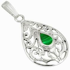 Green malachite (pilot's stone) enamel 925 silver pendant jewelry c12491