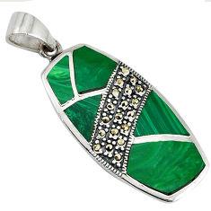 Green malachite (pilot's stone) 925 sterling silver pendant jewelry c16710