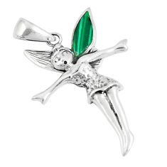 5.26gms green malachite 925 silver angel wings fairy pendant a93274 c13812