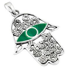 4.02gms green malachite enamel silver hand of god hamsa pendant a88338 c13663