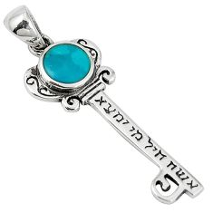 Green norwegian turquoise enamel 925 silver jewelexi key pendant c22744