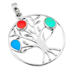 3.47gms green turquoise coral enamel silver tree of life pendant a88390 c13712