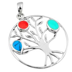3.69gms green turquoise coral enamel silver tree of life pendant a88391 c13718