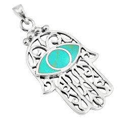 5.66gms green turquoise enamel silver hand of god hamsa pendant a88381 c13734