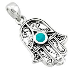 3.69gms green turquoise tibetan 925 silver hand of god hamsa pendant c10269
