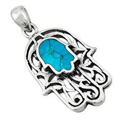 Green turquoise tibetan 925 silver hand of god hamsa pendant jewelry c10922