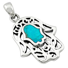 Green turquoise tibetan 925 silver hand of god hamsa pendant jewelry c10937