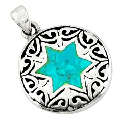 4.48gms green turquoise tibetan 925 silver wicca symbol pendant c10246