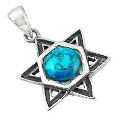 Green turquoise tibetan enamel 925 silver pendant jewelry c11008