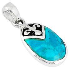Green turquoise tibetan enamel 925 sterling silver pendant jewelry c10985