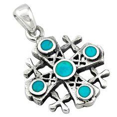 Green turquoise tibetan enamel 925 sterling silver pendant jewelry c10997