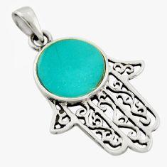 2.69gms green turquoise tibetan enamel silver hand of god hamsa pendant c9976
