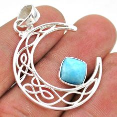 3.29cts half moon natural blue larimar 925 sterling silver pendant t43267