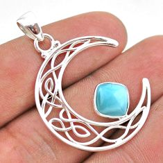 2.90cts half moon natural blue larimar 925 sterling silver pendant t43283
