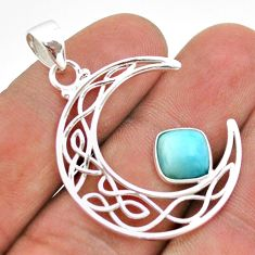 3.10cts half moon natural blue larimar 925 sterling silver pendant t43285
