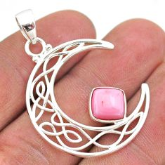 2.90cts half moon natural pink opal 925 sterling silver pendant jewelry t43277