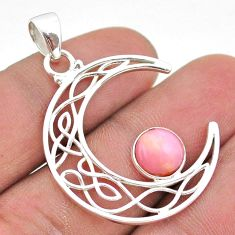 2.92cts half moon natural pink opal 925 sterling silver pendant jewelry t43278