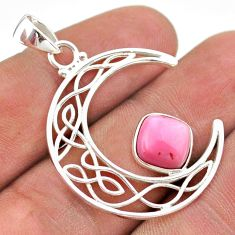 3.22cts half moon natural pink opal 925 sterling silver pendant jewelry t43290