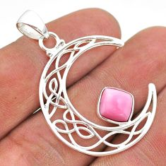 3.13cts half moon natural pink opal 925 sterling silver pendant jewelry t43292