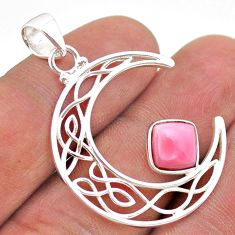 3.26cts half moon natural pink opal 925 sterling silver pendant jewelry t43293
