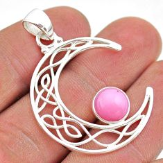 2.90cts half moon natural pink opal 925 sterling silver pendant jewelry t43295