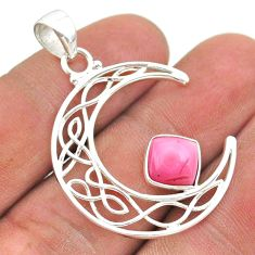 2.78cts half moon natural pink opal 925 sterling silver pendant jewelry t43296