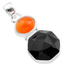 12.18cts halloween natural onyx cornelian 925 silver hexagon pendant t57838