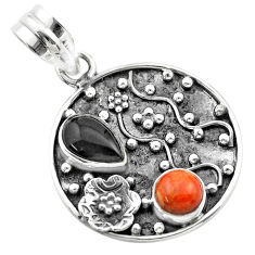 Clearance Sale- 3.52cts halloween natural onyx pear sponge coral silver flower pendant t57512